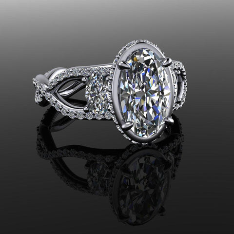 3.20 CTW Elongated Oval Forever One Moissanite Three Stone Ring-Bel Viaggio Designs