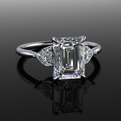 2.15 ctw Emerald Cut Moissanite & Heart Diamonds Engagement Ring-Bel Viaggio Designs