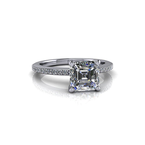 1.50 ctw Asscher Colorless Moissanite & Diamond Engagement Ring-Bel Viaggio Designs