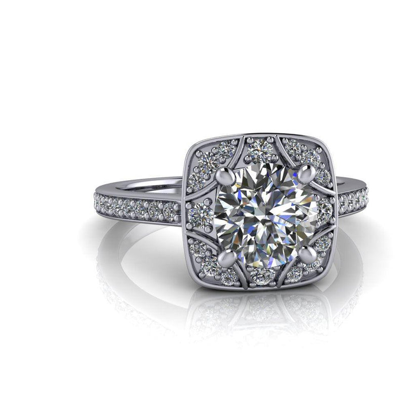 Antique Style Forever One Moissanite & Diamond Halo Engagement Ring-Bel Viaggio Designs