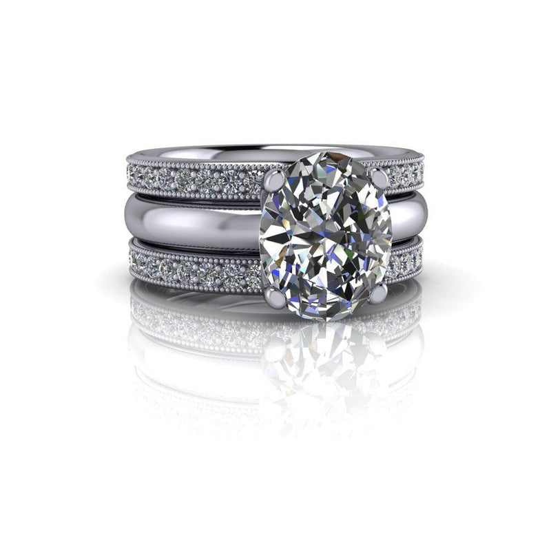 4.08 CTW Bridal Set Oval Moissanite Engagement Ring-Bel Viaggio Designs