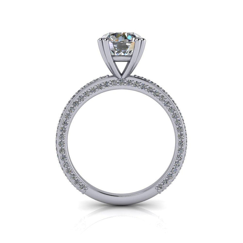 Round Colorless Moissanite & Diamond Engagement Ring 2.00 CTW-Bel Viaggio Designs