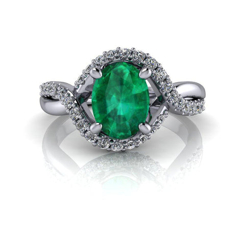 1.65 ctw Oval Green Emerald & Lab Grown Diamond Engagement Ring-Bel Viaggio Designs