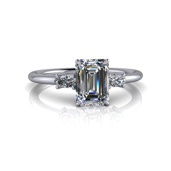 1.20 ctw Emerald Cut & Oval Three Stone Moissanite Engagement Ring-Bel Viaggio Designs