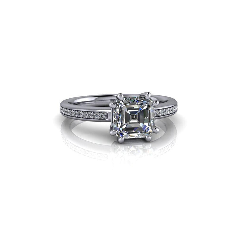 1.40 ctw Asscher Cut Forever One Moissanite Engagement Ring 8-Prong-Bel Viaggio Designs