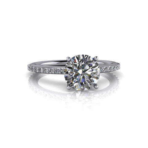 Round Moissanite & Diamond Engagement Ring 1.50 ct-Bel Viaggio Designs