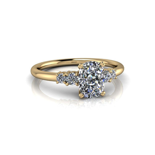 1.81 ctw Elongated Cushion Cut & Round Five Stone Moissanite Engagement Ring-Bel Viaggio Designs