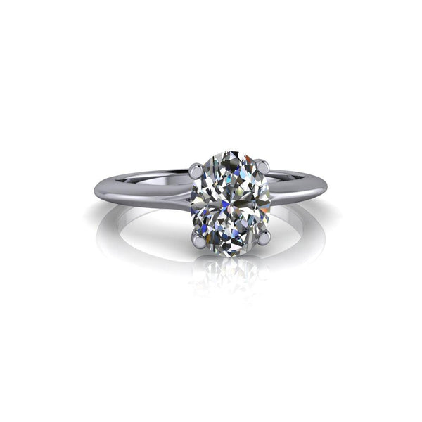 1.50 CTW Oval Solitaire Colorless Moissanite Ring. Center Stone Options-Bel Viaggio Designs