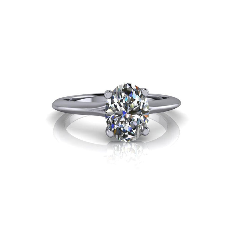 1.50 CTW Oval Solitaire Colorless Moissanite Ring-Bel Viaggio Designs