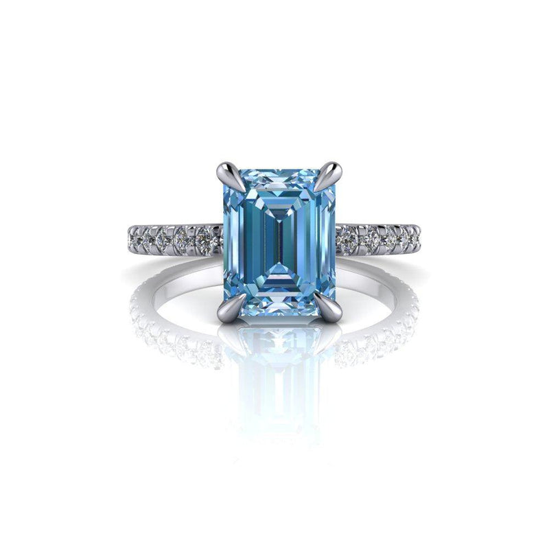 4.27 CTW Emerald Cut Blue Moissanite & Lab Grown Diamond Engagement Ring-Bel Viaggio Designs
