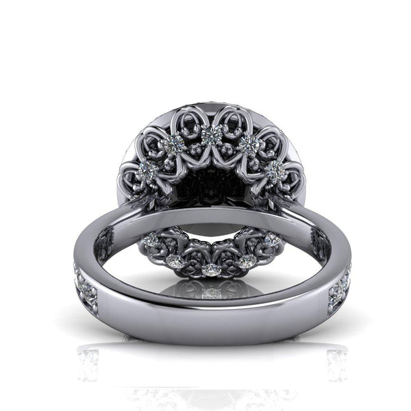7.59 CTW Black Moissanite and Lab Grown Diamond Halo Engagement Ring-Bel Viaggio Designs