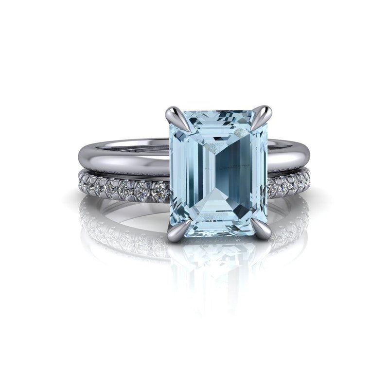 2.3 CT Emerald Cut Aquamarine & Diamond Bridal Set-Bel Viaggio Designs