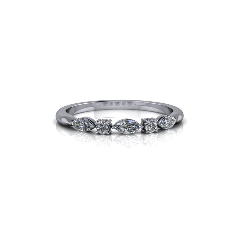 .27 ctw Colorless Moissanite Wedding Band/Stacking Ring-Bel Viaggio Designs