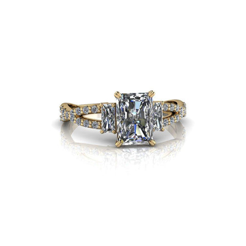 1.68 CTW Radiant Cut Three Stone Moissanite Engagement Ring-Bel Viaggio Designs