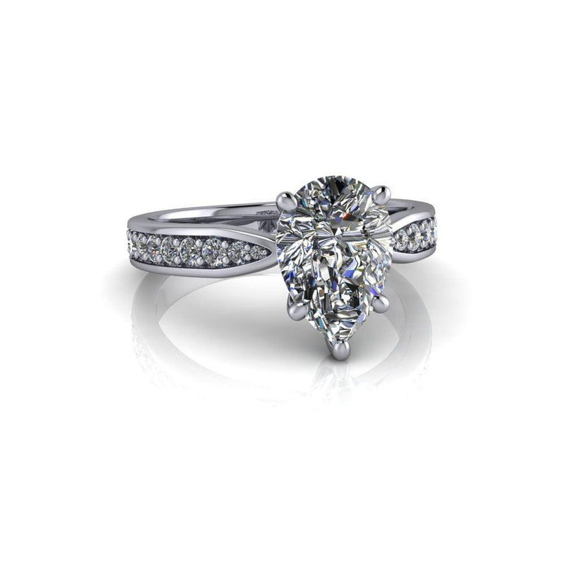 2.43 CTW Pear Forever One Moissanite & Diamond Cathedral Engagement Ring-Bel Viaggio Designs