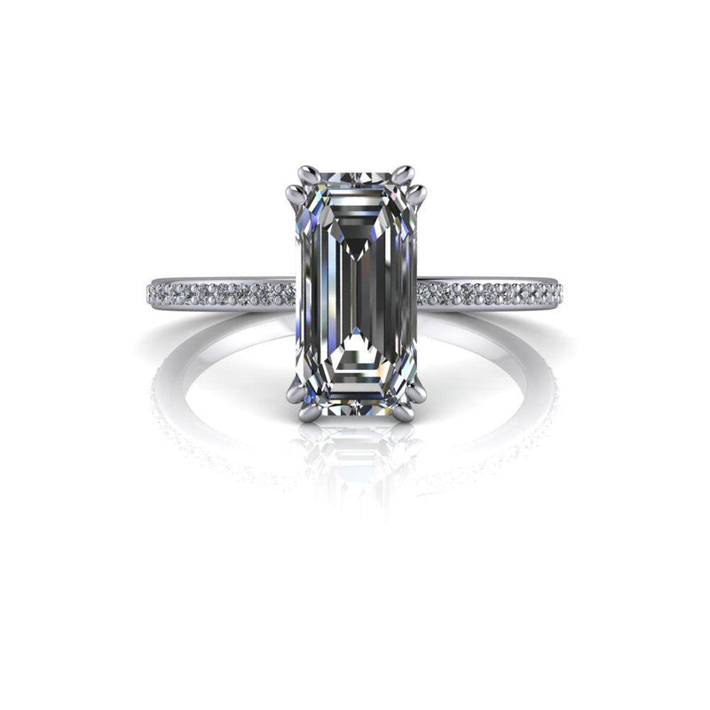 1.96 CTW Emerald Cut Moissanite & Diamond Engagement Ring-Bel Viaggio Designs