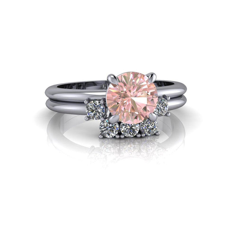 1.30 ctw Morganite & Lab Grown Diamond Bridal Set-Bel Viaggio Designs