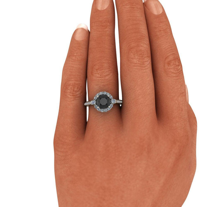 Round Black Diamond Halo Engagement Ring 2.00 CTW-Bel Viaggio Designs