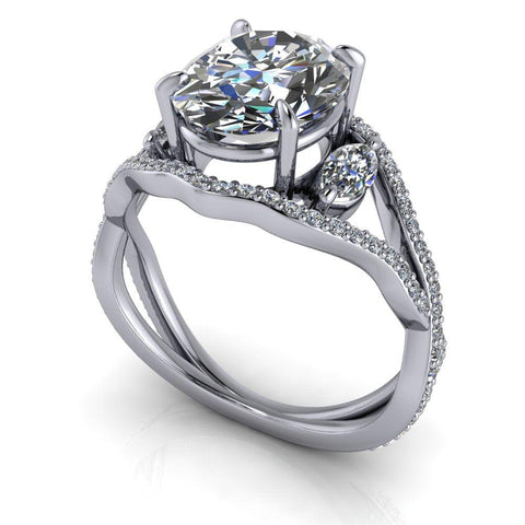 3.59 CTW Oval & Marquise Moissanite Three Stone Ring-Bel Viaggio Designs