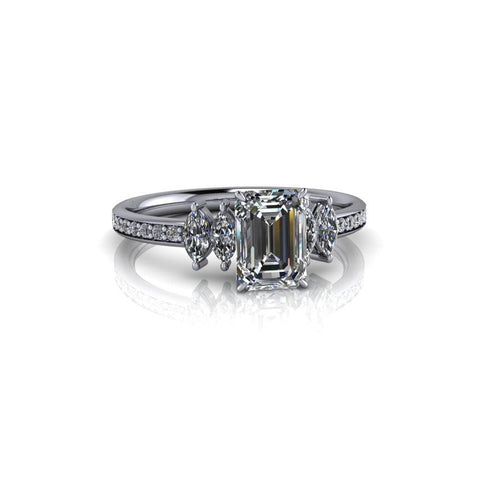 1.34 ctw Emerald Cut Moissanite and Diamond Three Stone Engagement Ring-Bel Viaggio Designs