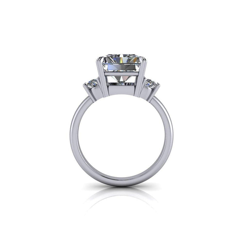 5.67 ctw Radiant & Half Moon Moissanite Three Stone Ring-Bel Viaggio Designs