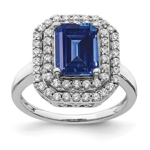 2.93 CTW Lab Grown Diamond Ring Blue Sapphire Halo Ring-Bel Viaggio Designs