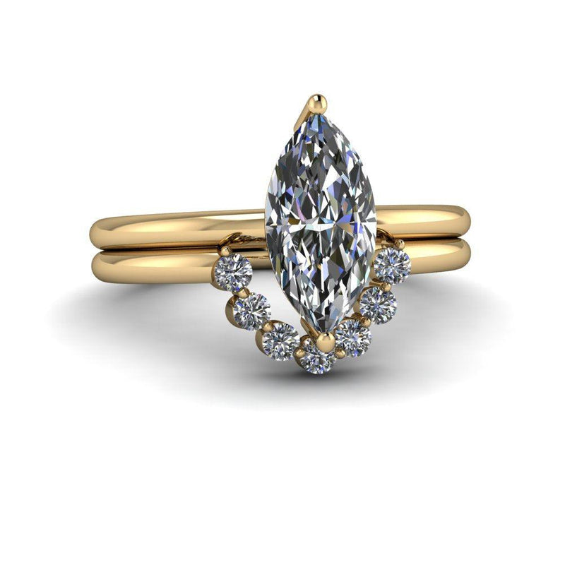 1.15 ctw Marquise Colorless Moissanite Engagement Ring Diamond Bridal Set-Bel Viaggio Designs