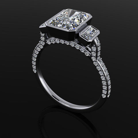 2.34 ctw Radiant Cut Moissanite Three Stone Ring-Bel Viaggio Designs