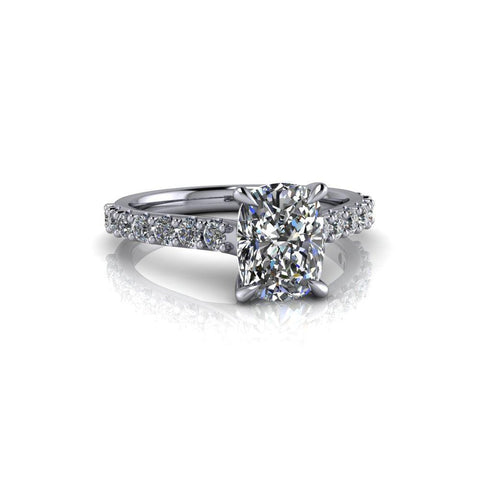 2.68 CT Elongated Cushion Moissanite & Diamond Bridal Set-Bel Viaggio Designs