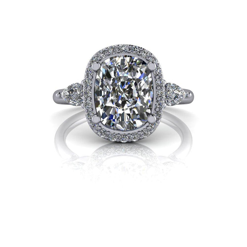 3.12 ctw Cushion Cut & Pear Moissanite Engagement Ring-Bel Viaggio Designs