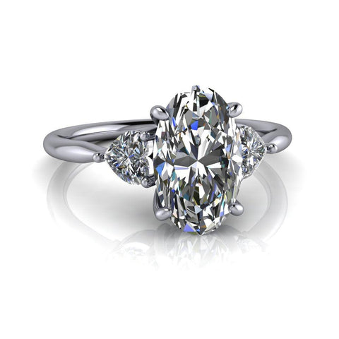 2.70 ctw Elongated Oval Forever One Moissanite & Heart Diamonds Engagement Ring-Bel Viaggio Designs