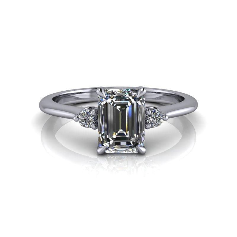 Emerald Colorless Moissanite Three Stone Engagement Ring-Bel Viaggio Designs