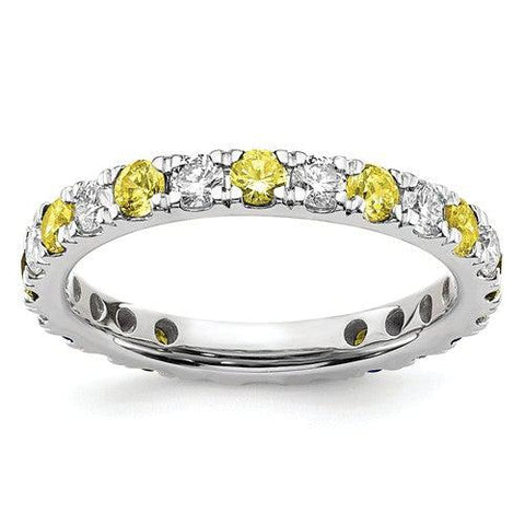1.42 CTW Lab Grown Diamond Eternity Ring with Yellow Sapphires-Bel Viaggio Designs