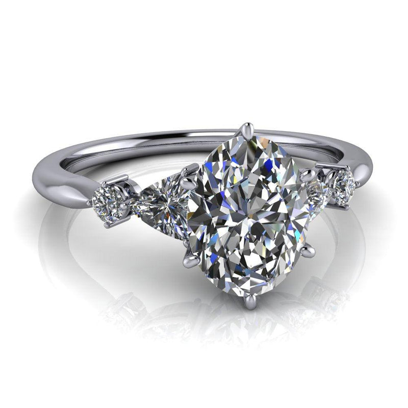 1.24 ctw Oval & Trillion Five Stone Moissanite Engagement Ring-Bel Viaggio Designs