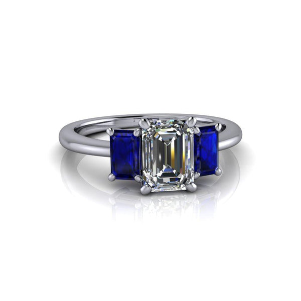 1.65 CTW Colorless Moissanite and Sapphire Engagement Ring or Anniversary Ring-Bel Viaggio