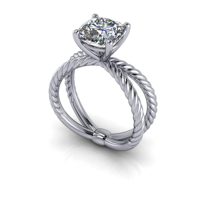 2.00 CTW Split Shank Rope Shank Cushion Cut Engagement Ring-Bel Viaggio Designs