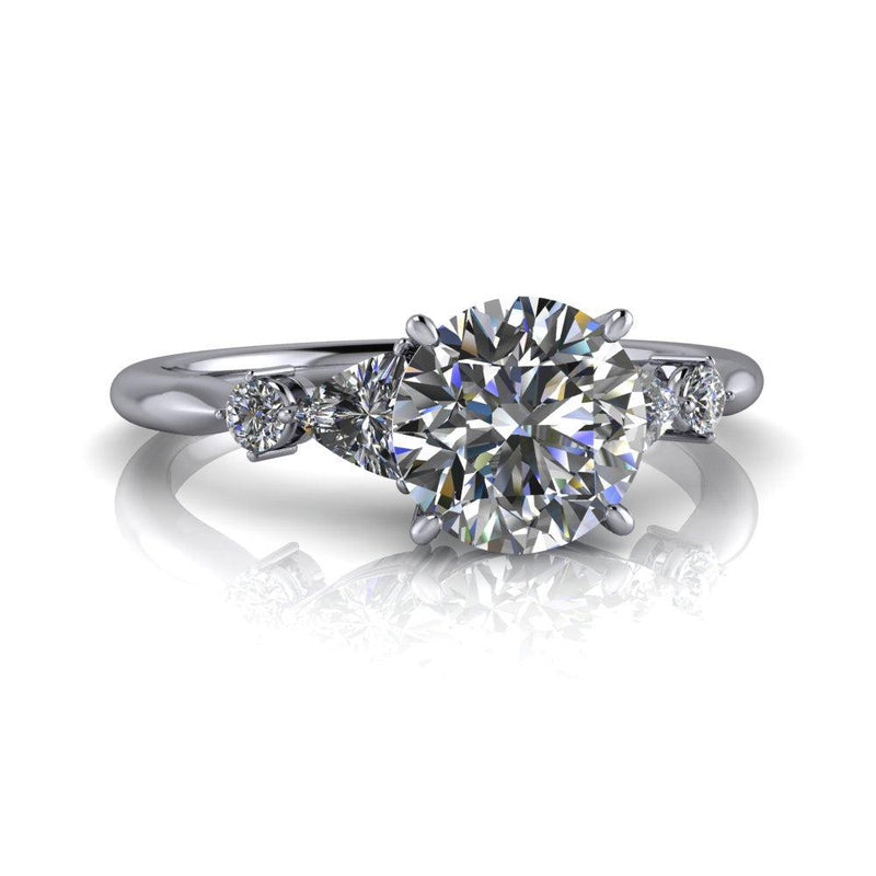 1.24 ctw Round & Trillion Five Stone Moissanite Engagement Ring-Bel Viaggio Designs