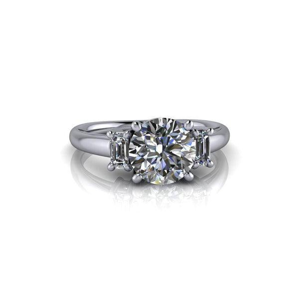 1.80 CTW Hearts and Arrows Round Charles & Colvard Three Stone Engagement Ring-Bel Viaggio