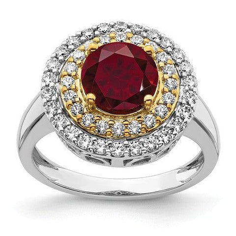 2.53 CTW Lab Grown Diamond Ring Ruby Halo Ring-Bel Viaggio Designs