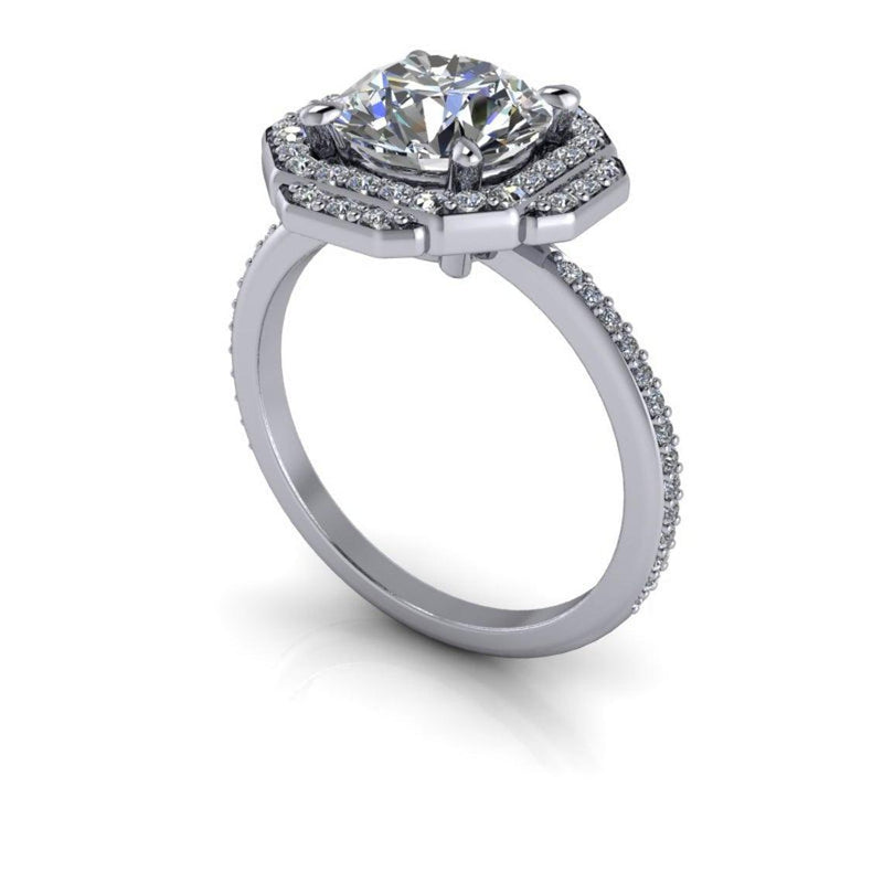 2.30 CTW Unique Colorless Moissanite Halo Engagement Ring-Bel Viaggio Designs