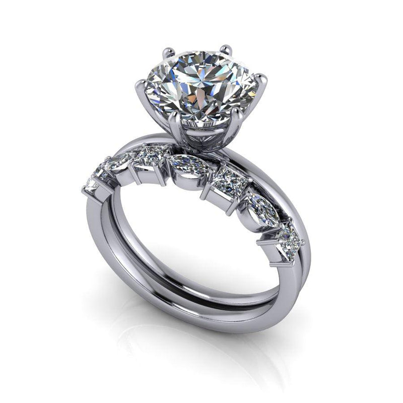 Round Moissanite Classic Solitaire Ring 6-Prong/Bridal Set 2.50 ctw-Bel Viaggio Designs