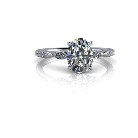 1.72 ctw Oval Moissanite and Diamond Three Stone Engagement Ring-Bel Viaggio Designs