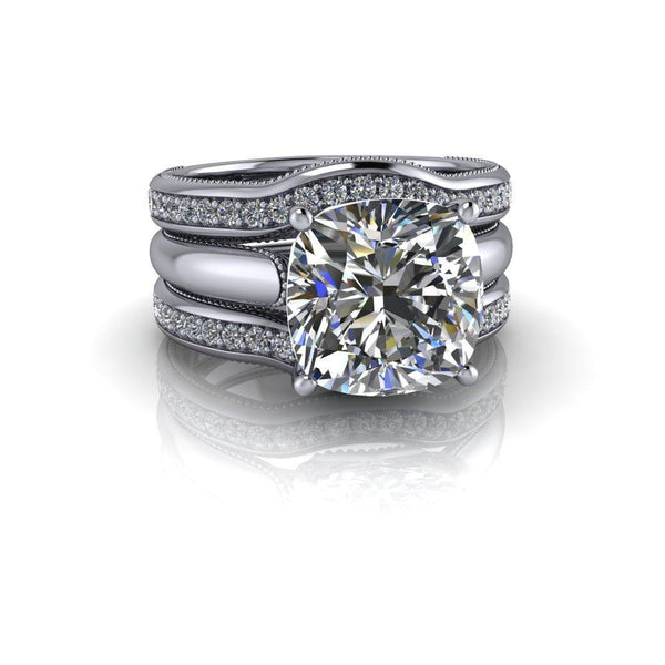3.84 CTW Colorless Moissanite Bridal Set Cushion Cut Milgrain Accented Engagement Ring-Bel Viaggio Designs