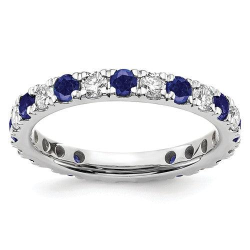 1.82 CTW Lab Grown Diamond Eternity Ring with Blue Sapphires-Bel Viaggio Designs