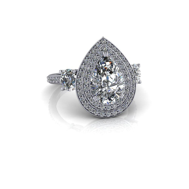 Pear Forever One Moissanite & Diamond Engagement Ring 3.16 ctw-Bel Viaggio Designs