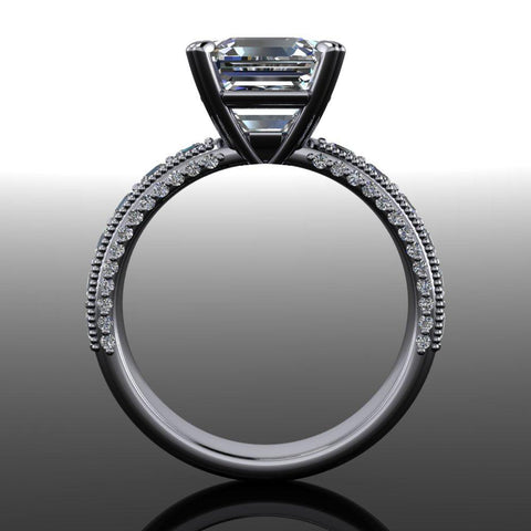 Asscher Forever On Moissanite & Diamond Engagement Ring-Bel Viaggio Designs