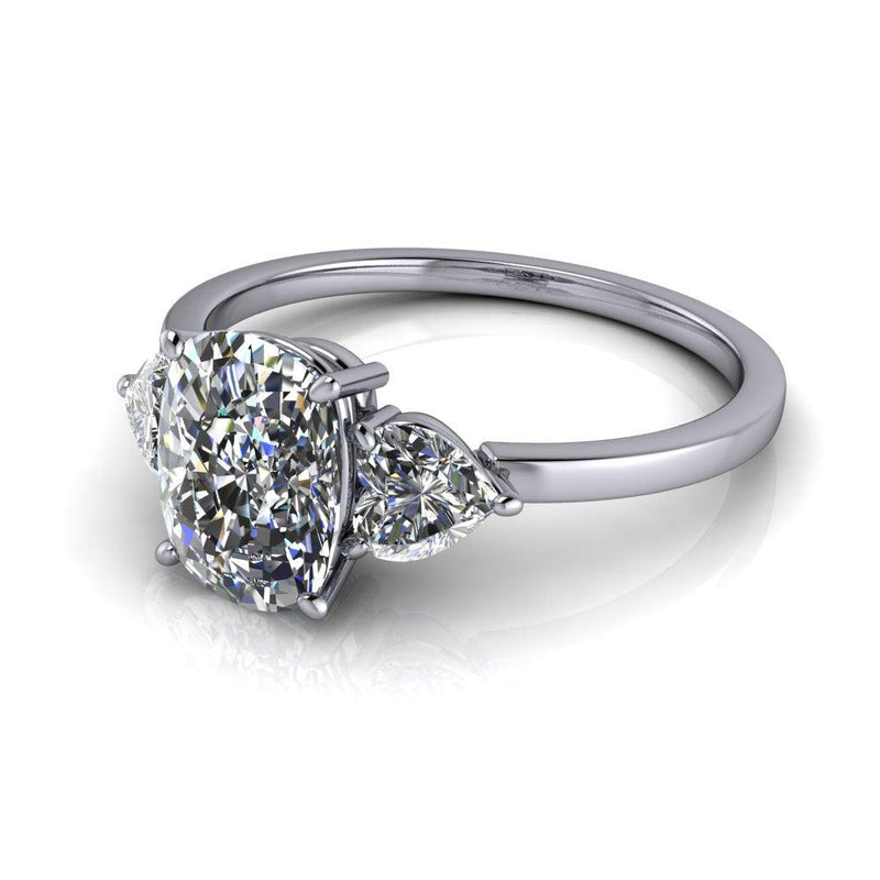 2.00 ctw Elongated Cushion & Heart Forever One Moissanite Three Stone Ring-Bel Viaggio Designs