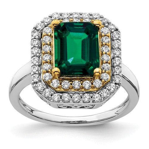 2.93 CTW Lab Grown Diamond Ring Emerald Cut Green Emerald Halo Ring-Bel Viaggio Designs
