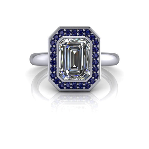 Blue Sapphire & Emerald Cut Moissanite Engagement Ring 1.90 ctw-Bel Viaggio Designs