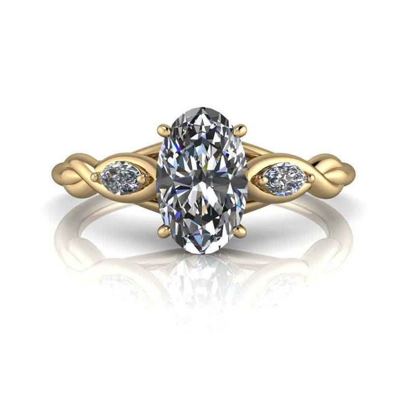 Long Oval & Marquise Moissanite Engagement Ring-Bel Viaggio Designs